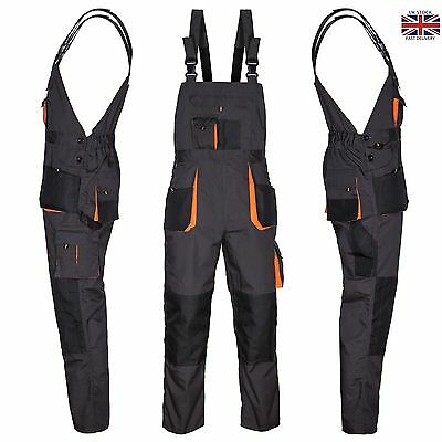 Bib and Brace Overalls Mens Work Trousers Bib Pants Knee Pad Multi Pocket
