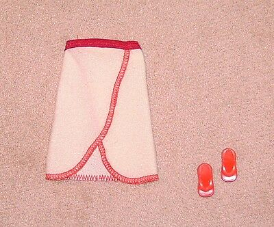 Barbie Doll Clothes Vintage Best Buy Clone? Terry Cloth Bath Skirt. Shower Shoes