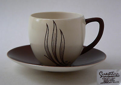 CARLTON WARE, HANDPAINTED, WINDSWEPT RANGE, BROWN CUP AND SAUCER, 1950'