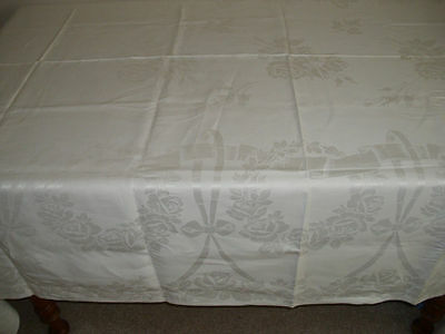 Vintage Irish Linen Damask Tablecloth Roses/Bows 72x109