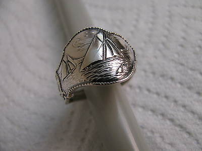 Sterling Silver spoon Ring SAIL BOATs  Sz 8 1/4