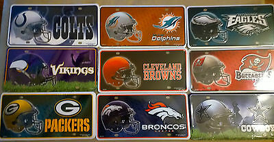 NFL TEAMS METAL LICENSE PLATES EMBOSSED FREE SHIPPING VARIOUS TEAMS AVAILABLE