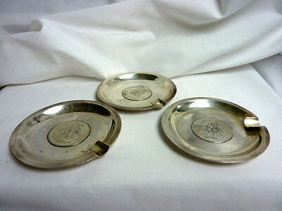 Vintage Sterling Silver 1912-1922 Colombia 50 Centavos Coin Ashtrays Set of 3