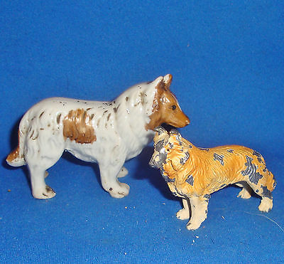 2 Antique Collie Dog Figurines 1 Porcelain 1 Heavy Metal From a Large Collection