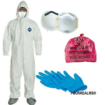 Safety Hazmat Suit Xl Bug Out Epidemic Disasters Survival Protection Kit Tyvek