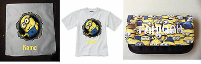 Personalised Children's T-Shirt & Cushion & Pencil Case - Minions  - Gift Set 3