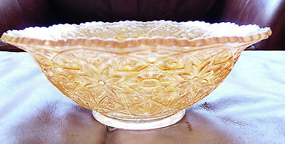 CARNIVAL GLASS BOWL VINTAGE IMPERIAL MARIGOLD AMBER  HATTIE PATTERN MOLDED PRESS