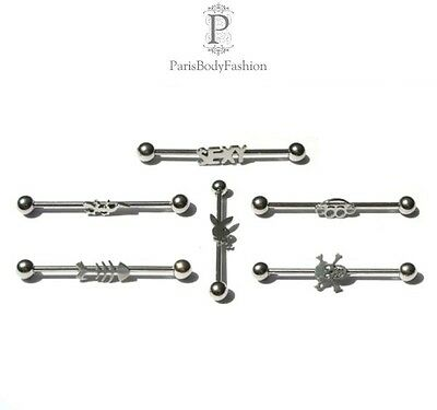 "Industrial Piercing Barbell Ohr Hantel 36 mm Stab 6 Embleme ""Sexy"" ""Totenkopf"".."