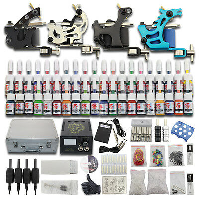 New Complete Tattoo Kit 4 Machine Guns Starter Set Carrying Case 40 Inks Cup C02