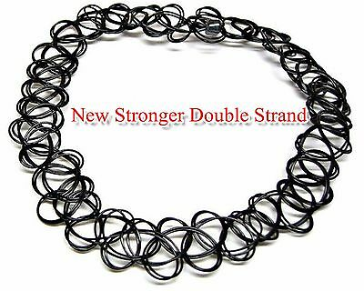 Handmade Magic 90's Black Stretch Tattoo Choker Vintage Gothic Necklace Elastic