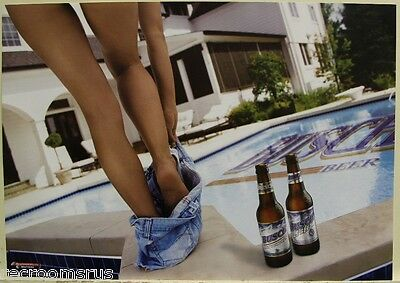 BUSCH BEER poster nice legs girl dropping shorts pool side sexy women  pin up