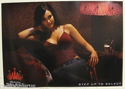 BUDWEISER SELECT hot sexy lady girl women poster in chair red top bud beer pinup
