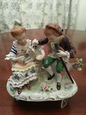 dressden figirine,lady and gentleman feeding lamb, porcelain