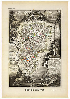 Aisne Laon Picardy France illustrated map Levasseur ca.1856