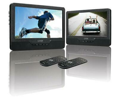 """9"""" Inch Twin Screen Portable Dual DVD Player, Rechargable, In Car, Remote, USB"""