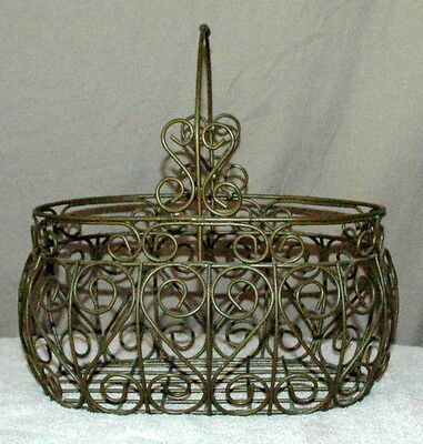 Vintage Wire Brass Basket W/ Handle Country Decorative Home