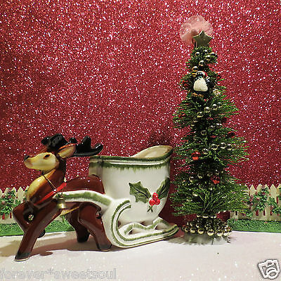 Vintage Napco Christmas Reindeer With Holly Berry Sleigh W Bottle Brush Tree