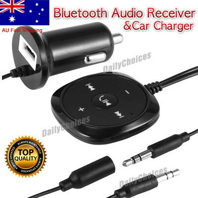 Handsfree Wireless Bluetooth 3.5mm Car Aux Audio Music Receiver USB Changer AU