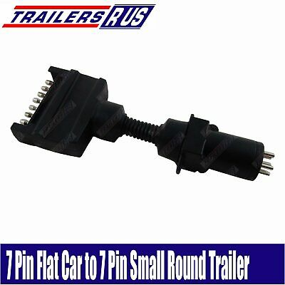 7 Pin Flat to 7 Pin Small Round Trailer Connector Adaptor Plug