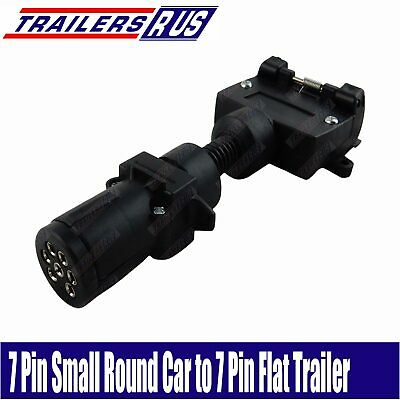 7 Pin Small Round to 7 Pin Flat Trailer Connector Adaptor Plug