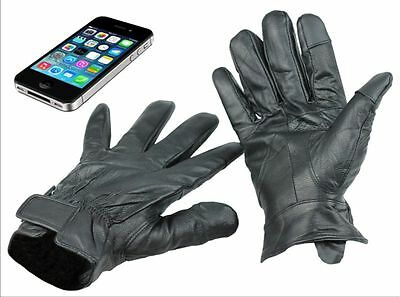 Mens 100%  Leather Touch Screen Gloves Thermal Lined Driving Soft Winter Gift