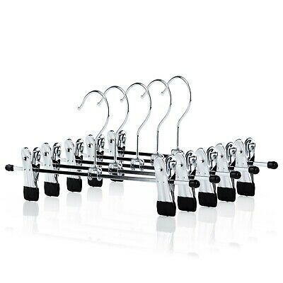 Strong Metal Clip Hangers Chrome Clothes Coat Trouser Skirt 30cm Hangerworld