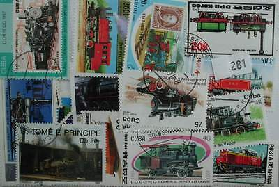 Trains, 50 stamps, all different (281)