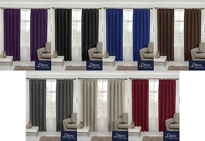 "Luxury Thermal Light Reducing Blockout Curtains Ready Made 3"" Tape, Pencil Pleat"