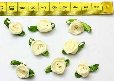 NEW 50pcs Satin Ribbon Flower With Leaves Appliques Crafts Milk White