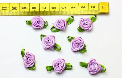 NEW 50pcs Satin Ribbon Flower With Leaves Appliques Crafts Purple Color