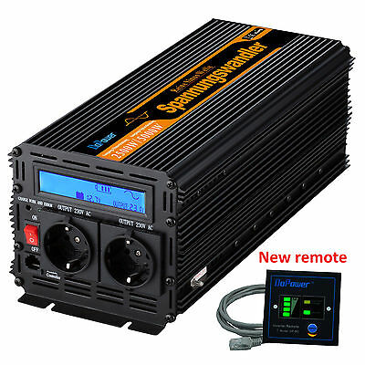Pure Sine Wave 2500W 5000W DC 12V to AC 240V Power Inverter LCD Display