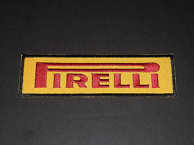 MOTORSPORTS RACING TYRE LOGO SEW/IRON ON PATCH:- PIRELLI (c) YELLOW & RED