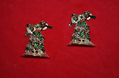 "PAIR VINTAGE 2"" gold Christmas bell brooch pin red  green poinsetta BOWS"