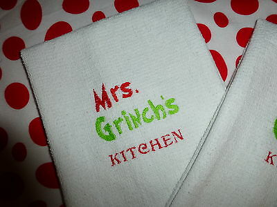 GRINCH KITCHEN ToWeL SET MRS. GRINCH'S KITCHEN PERFECT GIFT for ANy Day ! CUTE☆