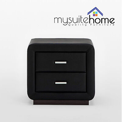 Emily PU Leather Bedside Table Nightstand with Storage Drawers and Wooden Base