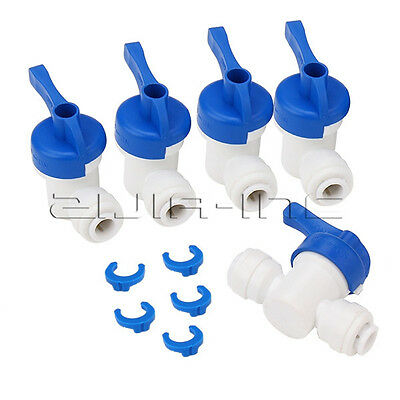 """5pcs 1/4"""" OD Tube Ball Valve Quick Connect Equal Straight Fitting for RO Water"""