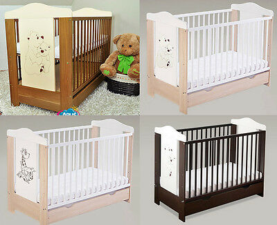 Baby Cots with drawer/baby bed/cot beds  4 models DUMBO + selection of mattress