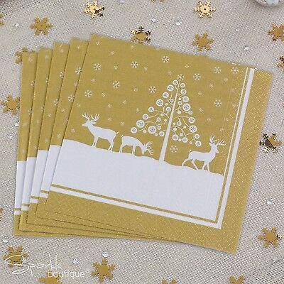 WINTER WONDERLAND Gold Christmas Paper Napkins -Xmas Party- FULL RANGE IN SHOP!
