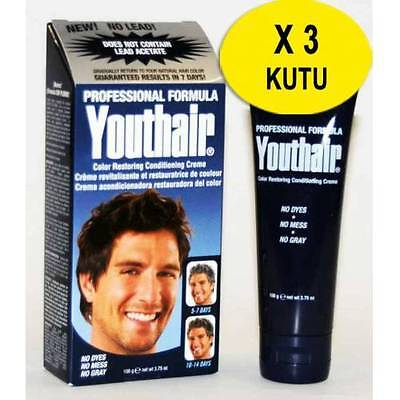 YOUTHAIR X 3 boxes Hair Color Restoring Creme For Men LEAD FREE 106g  06 / 2020