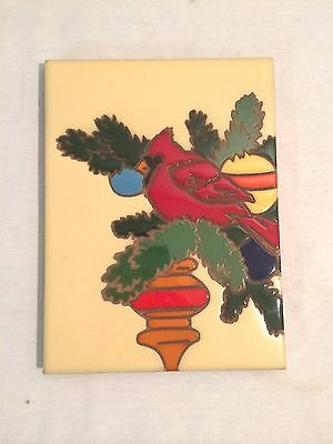 Vintage Sassuolo Tile Made In Italy 1987 Arius Cardinal Christmas Tile Trivet