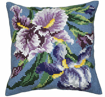 Collection D'Art Cross Stitch Cushion Kit: Purple Iris CD5050