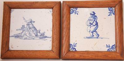 Pair of Antique Early Dutch Painted Ceramics Tile Delft Framed c.1700s