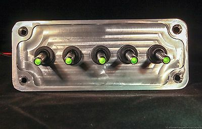 RED 5 HOLE Black Powder Coat panel w// 5 LED toggle switches