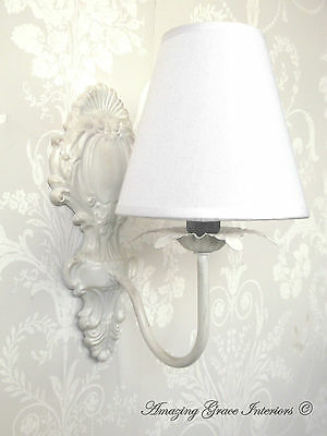 French Shabby Chic Ornate Vintage Style Wall Light WITH LAMPSHADE Antique White