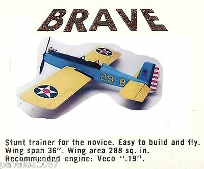 """Model Airplane Plans: Veco BRAVE UC 36"""" Stunt for .19-.35 Engines (circa 1949)"""