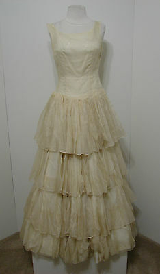 Vintage Cream ECRU Floral Silk Embroidered Full Pleated Tiered Swing Gown XS