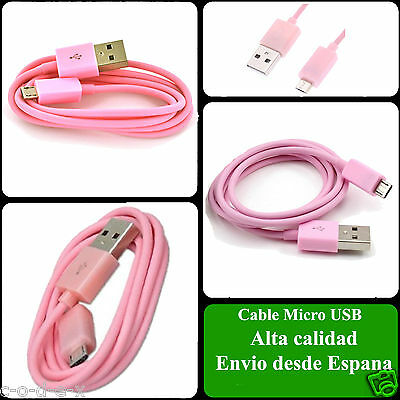 Cable micro usb color Rosa para Samsung Sony Nokia HTC LG Blackberry Huawei