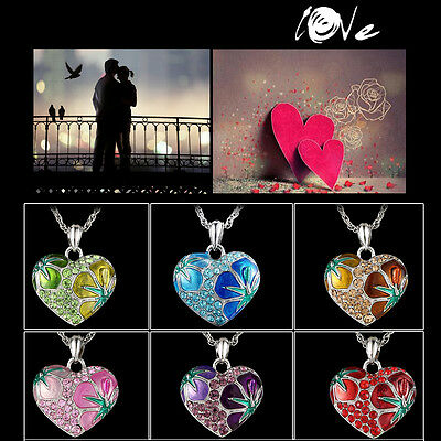 Fashion Love Flower Crystal Rhinestone Silver Heart Pendant Necklace Chain Gift