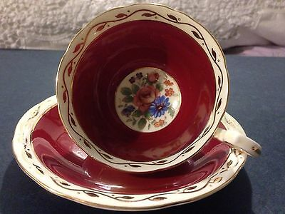 AYNSLEY RUBY RED C1934 Doris Shaped Cup And Saucer 14K Gold Flowers