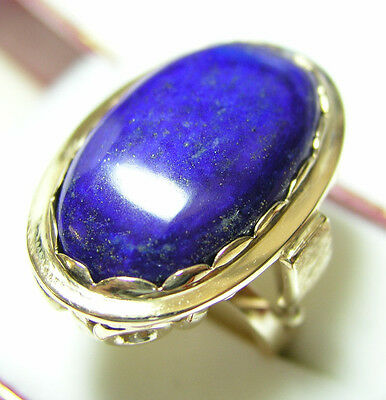 RARE! LARGE 10K Yellow Gold Antique Art Deco Oval Deep Blue Lapis Lazuli Ring